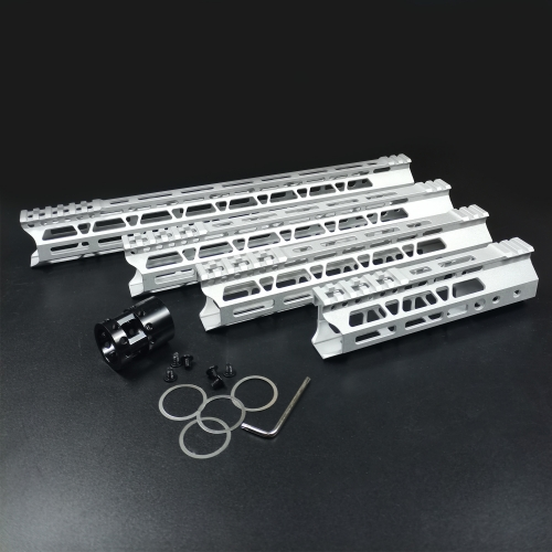 7/10/12/15 Inch  M-LOK Handguards Edge CNC Chamfering For .223/5.56 Raw aluminum Color (sand blasting)